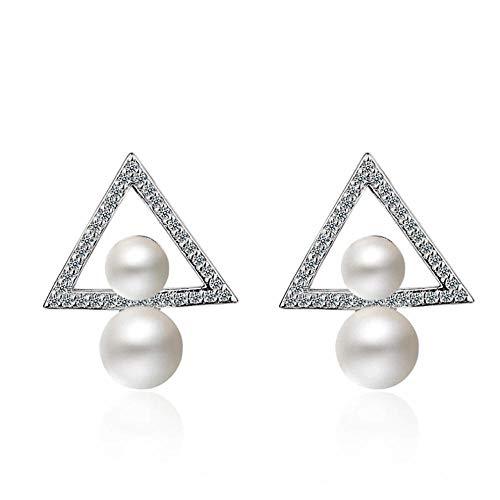 Pendientes triangulares de perlas blancas de moda para mujer, joyería de plata, Pendientes Oorbellen, bonito regalo, dulce