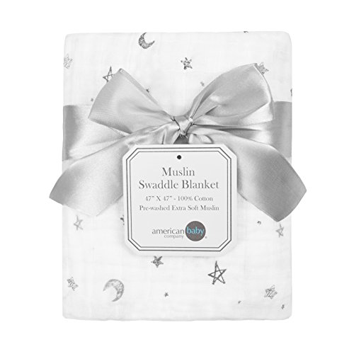 American Baby Company 100% Natural Cotton Muslin Swaddle Blanket Gray Stars/Moon 47quot x 47quot Soft Breathable for Boys and Girls