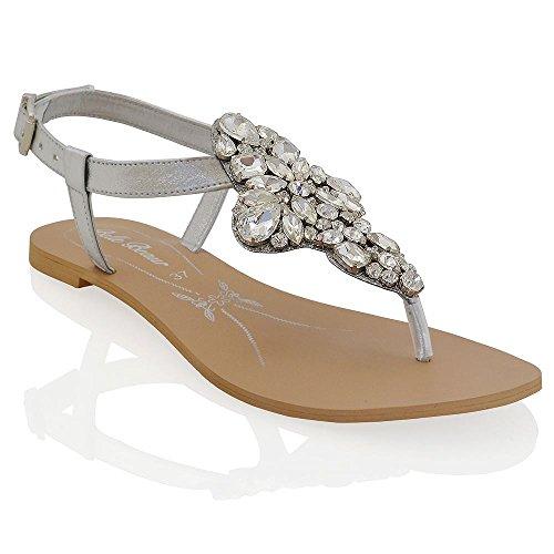 ESSEX GLAM Sandalo Donna Argento Vacanze Infradito T-Bar Finto Diamante EU 40