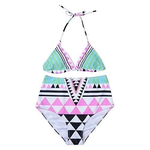Pabuyafa Mujeres Fuera del hombro Volantes Bikini Conjuntos Verano Floral Impreso Vendaje Acolchado Push Up trajes de baño Sexy Beachwear, Multicolor, S