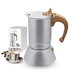 CHISTAR Moka Express Cafetera Italiana Espresso, 4 Tazas, Aluminio, Plateado