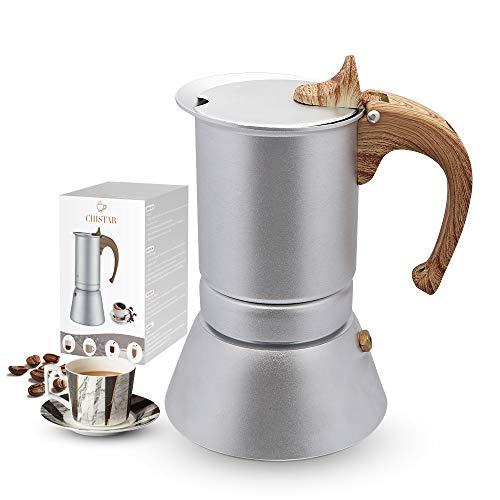 CHISTAR Espressokocher 4 Tassen Mokkakanne Induktion, mit Einer Dichtungsring und filterpapier, Aluminium