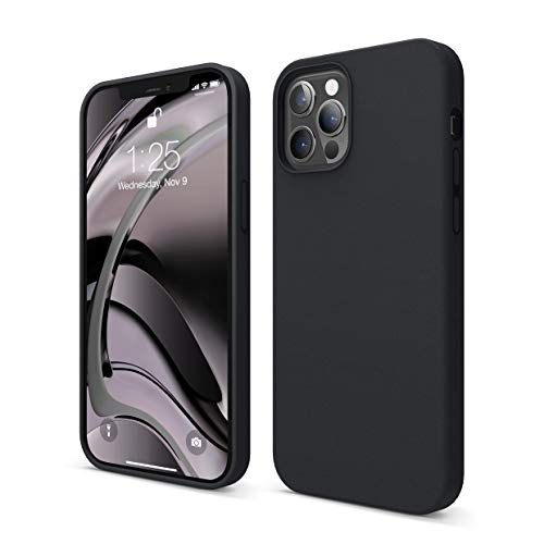 "Elago Silicone Liquido Custodia Cover Compatibile con iPhone 12 Case e Compatibile con iPhone 12 PRO Case (6.1""), Silicone Liquido Premium, Protezione Full Body : Case Antiurto 3 Strati (Nero)"