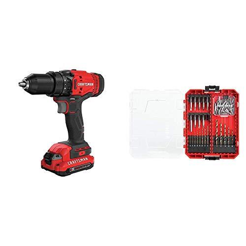 CRAFTSMAN V20 Cordless Drill/Driver Kit (CMCD700C1) & Drill/Driver Set, 53-Piece (CMAF1253)