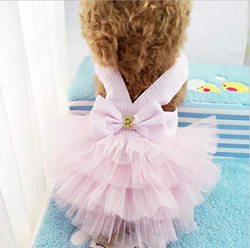 YAMEIJIA Hundekleidung, Gestreifter Hosenrock, Netzrock, Frühling Und Sommer, Pink,XL