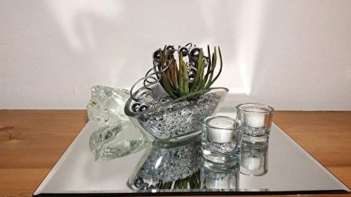 Tischgesteck Tischdekoration Nr. 4 Glasschale mit Sukkulente Spiegelgranulat Blumenschmuck