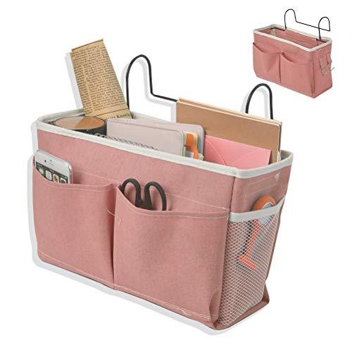 Bolsa de cama con gancho de hierro para colgar mesita de noche, Organizador de estantes de almacenamiento, organizador de cama, organizador de escritorio para casa, oficina, escuela (rosa)