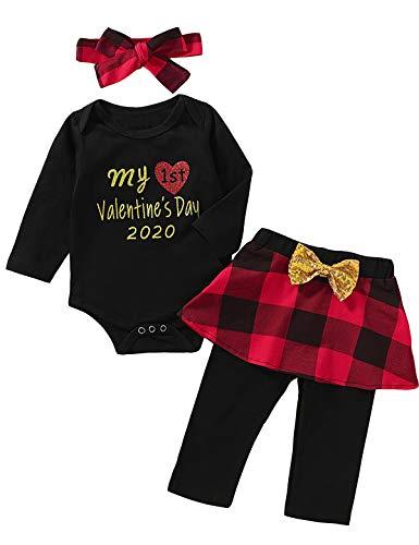 Mutiggee Newborn My 1st Valentine's Day 2020 Outfit Baby Girls Plaid Skirt Set (Black-Valentine,0-3...
