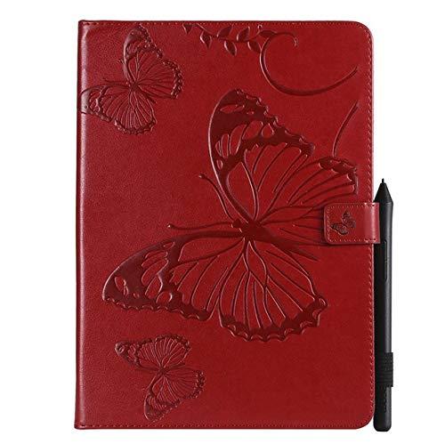 JiuRui-504 kuaijiexiaopu Custodie Caso for iPad PRO 11 2018 A2013 A1980 A1979 Cuoio Disegno in Rilievo A1934 Copertura Tablet Funda Farfalla Stand Shell + Film + Pen (Colore : Wine Red)
