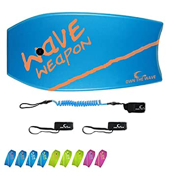 Own the Wave 41  Body Board for Kids and Adults - HDPE Slick Bottom & EPS Core - Lightweight Body-Board for Beach and Surfing - Comes with Coiled Arm Leash and Fin Leash  Blue & Orange