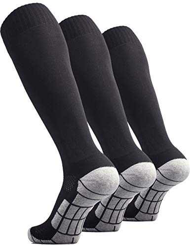 CWVLC Boy's Soccer Socks Youth Sport 3 Pairs Team Athletic Knee High Long Tube Cotton Compression Socks Black Small (3Y-5Y Youth/ 4-6 Women)