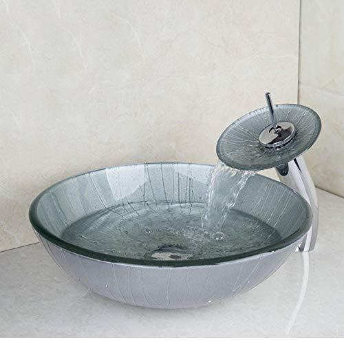 Jgophu Grifo de lavabo alto cromado + lavabo lavabo cristal templado pintado a mano cascada latón set grifo grifo mezclador