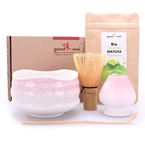 Teezeremonie-Set mit hochwertiger Matcha-Schale und echtem Bio Matcha aus Japan (Sakura)