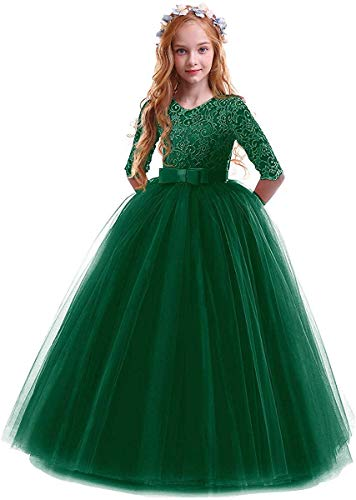 Little Big Girls Flower Vintage Floral Lace 3/4 Sleeves Floor Length Dress Tulle Wedding Birthday Party Evening Formal Prom Dresses Summer A Line Pegeant Long Maxi Dance Ball Gown Dark Green 2-3