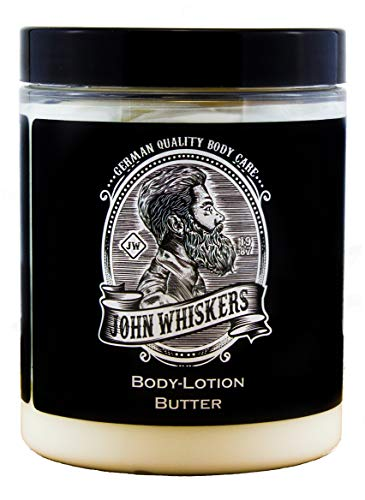 John Whiskers Lotion-Butter - Made in Germany - Feuchtigkeitspflege Bodylotion mit Kakao- und Sheabutter für trockene Männer-Haut - 300ml XXL-Tiegel