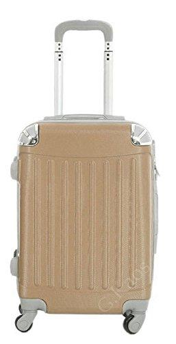 Trolley da cabina 56 cm valigia rigida in ABS policarbonato antigraffio e impermeabile per voli lowcost Easyjet Rayanair art. 2022 (Champagne)