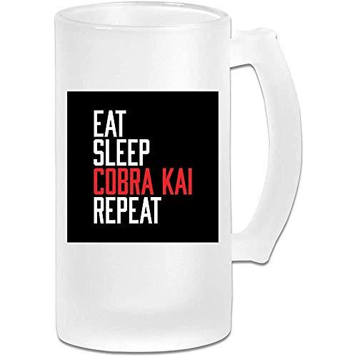 Taza de jarra de cerveza de vidrio esmerilado impresa de 16 oz - Eat Sleep Cobra Kai Repeat - Taza gráfica