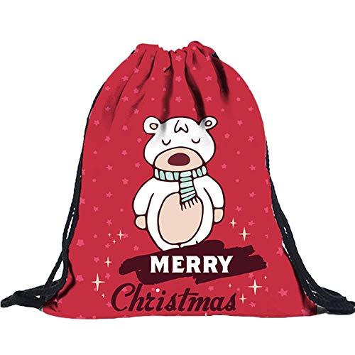 Christmas3D Digital Print Blumenstrauß Tasche Rucksack Kordelzugbeutel E, Malloom Unisex 3D Digitaldruck Draw Pocket Rucksack Drawstring Bag Umhängetasche