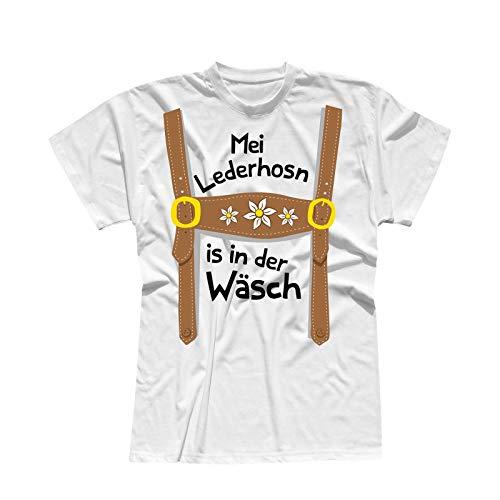 T-Shirt Oktoberfest Lederhose Kostüm Volksfest Tracht 13 Farben Herren XS-5XL München Wiesn Festzelt O'zapft Maß Krug Dirndel, Größe:XL, Farbe:Weiss - Logo schwarz
