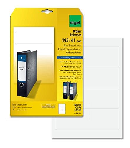 SIGEL LA430 Ordner-Etiketten weiß, für breite Ordner, kurz, 100 Etiketten