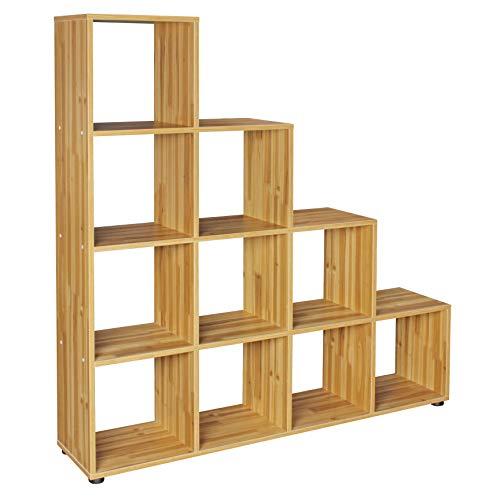 FineBuy Stufenregal Lucia Buche Treppenregal für Ordner & Bücher 10 Fächer Holz | Design...