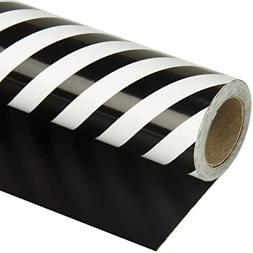 WRAPAHOLIC Reversible Wrapping Paper - Black and Stripes Design for Birthday, Holiday, Wedding, Baby Shower Wrap - 30 inch x 33 feet