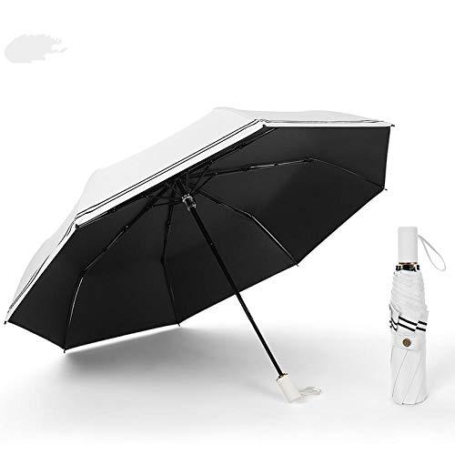 Parasol Parapluie 8 Bone 190T Nylon Pongee Non Automatique Parapluie Soleil 3 Pliant en Fibre De Verre Forte Coupe-Vent Pluie pour Femmes Hommes Voyage Parapluies Blanc