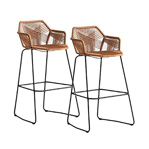 ZHJQTIE Rattan Bar Stools Beige Home Wicker Bar Stools,Patio Rattan Dining Chair with Arms High Back,Barstools Iron Art Kitchen Counter Stool Breakfast Bar Chairs Height Stool (Size:2PCS-65cm)