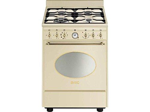 Smeg CO68GMPD9 Küchenherd, freistehend, cremefarben, drehbar, vorne, analog, Gaskochfeld