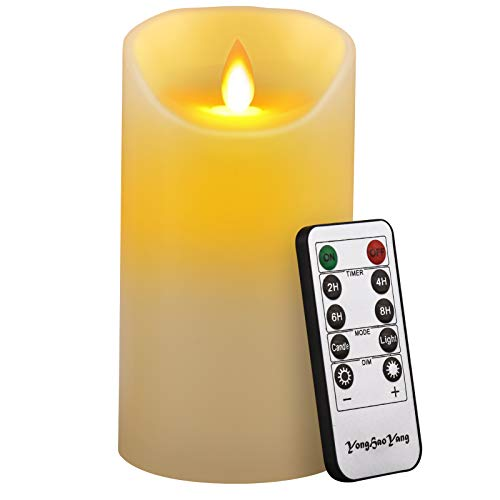 LED Candles,Flameless Candles 6' Height (Dia 3.25') Ivory Dripless Real Wax Pillars Include Realistic Dancing LED Flames and Remote Control,Gift Decoration for Party,Holiday (1 * 1, Ivory)