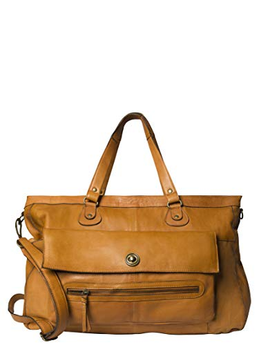 PIECES TOTALLY ROYAL LEATHER TRAVEL BAG NOOS 17055349 Damen Umhängetaschen, 1 Groesse (51 x 33 x 14,5 cm), Braun (Cognac)