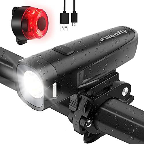 LED Fahrradlicht, Weofly LED Fahrradbeleuchtung StVZO akku Fahrradlampe USB Fahrradlicht Vorne Rücklicht Fahrrad Licht Set, IPX5 Wasserdicht 2600Amh Licht für Fahrrad Beleuchtungs-Set 16 Std. Laufzeit