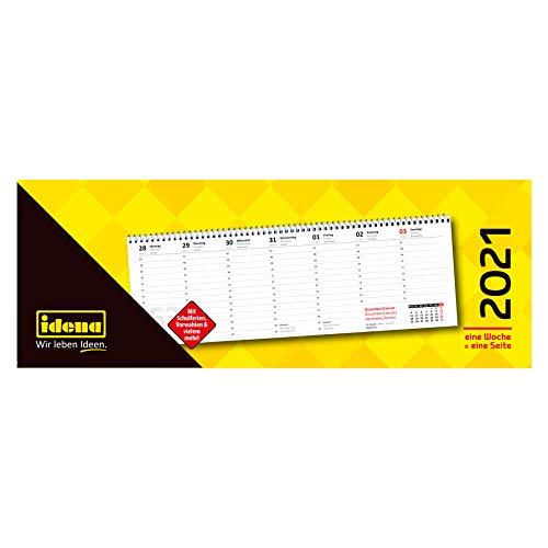 Idena 10873 - Tischkalender 2021, im Format quer, aus FSC-Mix, 1 Woche = 1 Seite, 1 Stück