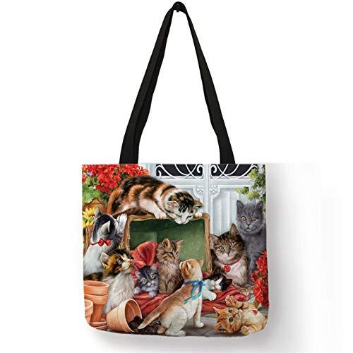 Pintura al óleo Impresión de gato Diseñador de mujeres bolsas de asas de lino Bolsa de compras reutilizable para comestibles Bolsos de hombro para dama (Color : 002)