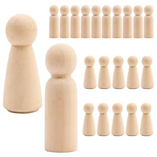 Anladia 20 Stück Figurenkegel Unvollendete Holzfiguren Spielfiguren für Brettspiele aus 10 x männliche Figuren + 10 x weibliche Figuren