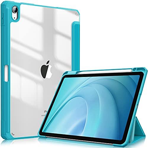 Fintie Funda Compatible con iPad Air 10,9' (4.ª Generación, 2020) - Carcasa con Soporte Integrado para Pencil Trasera Transparente a Prueba de Choques Auto-Reposo/Activación, Cian