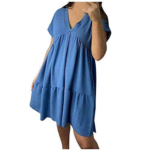 Manygood Vestido de mujer de una línea de verano plisado con cuello en V para playa, Midi Shift Vestidos casuales sueltos de manga corta