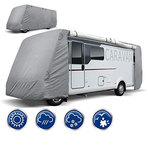 ECD Germany Schutzhülle für Wohnmobile - Größe L 730 x 235 x 275 cm - Atmungsaktive Integrierte Abdeckplane Ganzgarage Schutzhaube für Reisemobile Campingmobile Wohnwagen