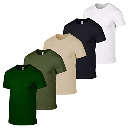 Gildan Confezione di 5 magliette da uomo, stile esercito britannico, colori militari e mimetici, da pesca Bottiglia Militare Sand Nero Bianco L
