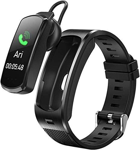 Reloj Inteligente 2 en 1 con Auricular Bluetooth Rastreador de Actividad física con frecuencia cardíaca Monitor de presión Arterial Mujeres Niñas Hombres Reloj Inteligente con Auriculares Compati