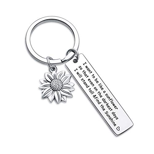 7RVZM Sunflower Gift Sunflower Lover Gift Motivational Jewelry Positive Jewelry Inspirational Gift Best Friend Keychain Sister Gift Daughter Gift Daughter Jewelry Sunflower Keychain Sunshine Keychain