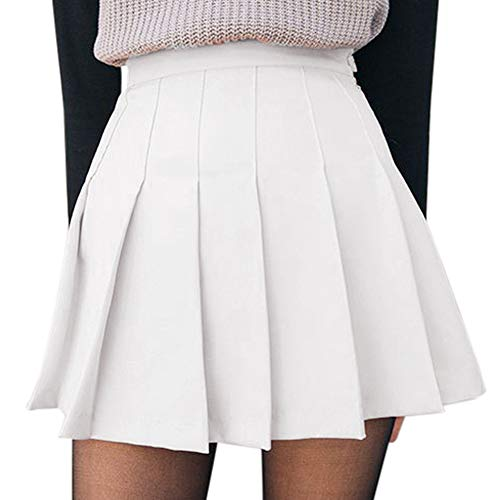 Women's Girls High Waisted Pleated Skater Tennis School Skirt Uniform Skirts with Lining Shorts (A-White, Large)