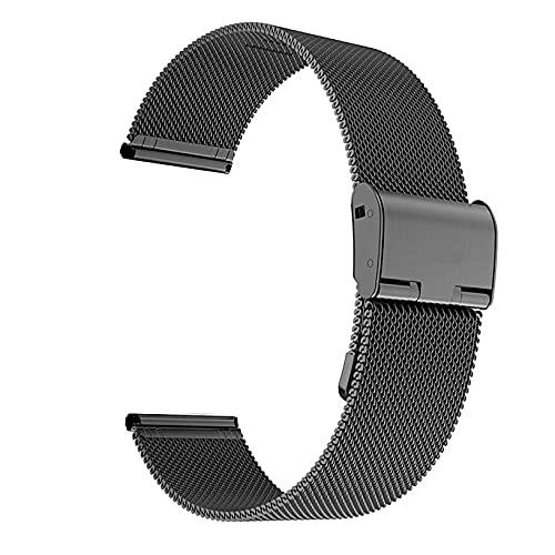 Graywlof Correa de reloj milanesa para mujer y hombre, malla de acero inoxidable, longitud ajustable, 14 mm, 18 mm, 20 mm, 22 mm, compatible con Samsung Galaxy Watch3 (tamaño: 16 mm, color: negro)