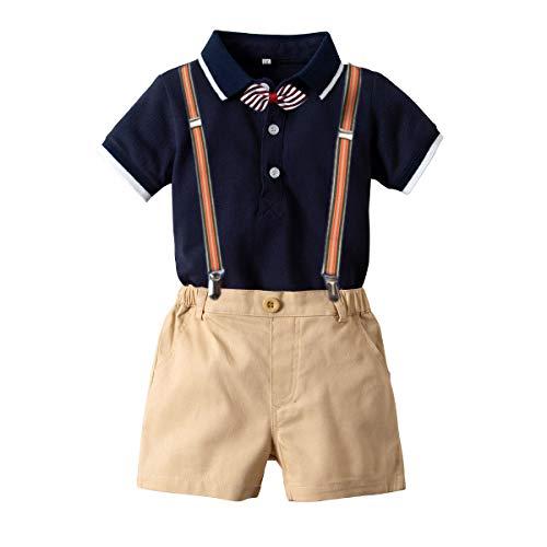 Carlstar Baby Boys Gentleman Outfit Suits Infant Boys Short Pants Set Short Sleeve Romper Shirt+Suspender Pants+Bow Tie 4pcs