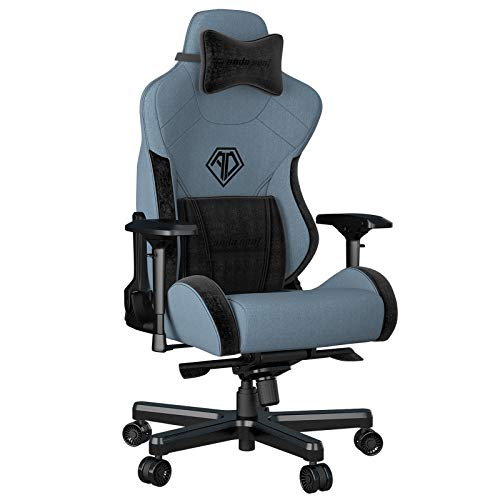 Fabric Gaming Chair,Anda Seat T PRO 2 Ergonomic Office Game Chairs,XL Swivel Recliner Chair with 4D Adjustable PU Armrest,160°Recliner Rocker Video Chair with Pillow Headrest Lumbar for Home(Blue
