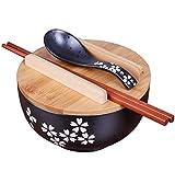 XXJ-Tazones Cuenco de Fideos instantáneos de cerámica Negra de Estilo japonés con Palillos de Cuchara de Tapa, tazón de cerámica, tazón Retro Cuenco de Sopa Cuenco de arroz, tazón Redondo Multiusos