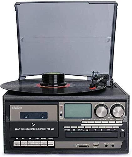 Lettore di Dischi in Vinile Bluetooth Giradischi Cassetta CD Radio AM/FM e Ingresso Aux con Porta USB e codifica SD - Telecomando Registratore Rosso Incorporato