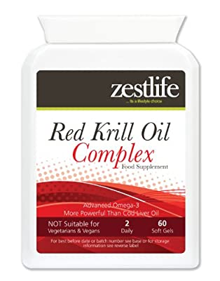 Red Krill Oil Complex - Higher Strength / 60 easy to swallow capsules |Sustainably harvested in the waters of the Antarctic. Joint Health/Heart & Cardiovascular Health/ Brain Health and Antioxidant.