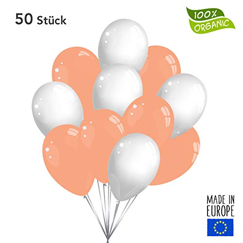 Twist4 50 Premium Luftballons in Rose Gold / Weiß - Made in EU - 100% Naturlatex somit 100% giftfrei und 100% biologisch abbaubar - Geburtstag Party Hochzeit - für Helium geeignet