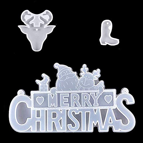 Skllape Merry Christmas Resin Mould Crystal Epoxy Casting Mold Santa Claus Xmas Tree Star Mold, with Elk & Christmas Sock Mould